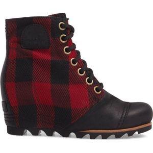 05bd76f2f1cf Sorel Shoes - Sorel Red Black Plaid PDX Waterproof Wedge Bootie